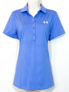 Under Armour Women's Heatgear Collared Golf Fitted SS Shirt Blue Size L NWT