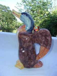 Majolica Style Ceramic Duck Pitcher/Decanter, 11 1/2