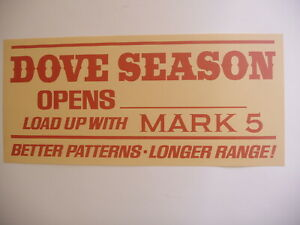 VINTAGE Winchester Mark 5 Dove season opens Paper Poster Advertising Sign