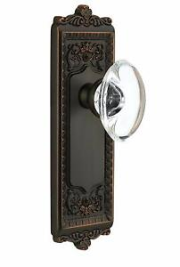 Grandeur Windsor Plate with Provence Crystal Knob Privacy 2.375