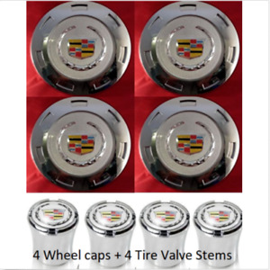 4pcs. 2007 2014 CADILLAC ESCALADE 22 WHEEL CENTER CAPS 4 TIRE VALVE STEMS