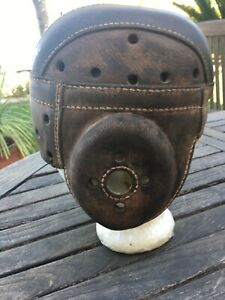 SUPER Antique Old 1930's ALL Thick Brown Leather Vintage Football Helmet CIRCA