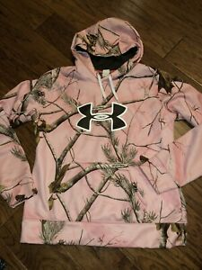 Under Armour Camo Pink Womens Size Large RealTree Hunting Hoodie Loose
