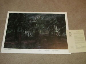 HAUNTED MANSION LITHOGRAPH COLLIN CAMPBELL 300 SIGNED 6 TIMES DISNEY 1999