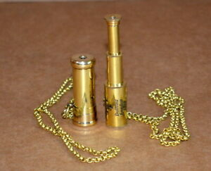 Antique vintage maritime 2quot; brass kaleidoscope and 2quot; telescope with brass chain