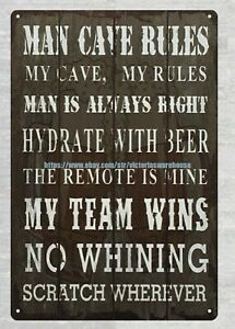 cottage shops Man Cave Rules Man is Always Right metal tin sign $15.89