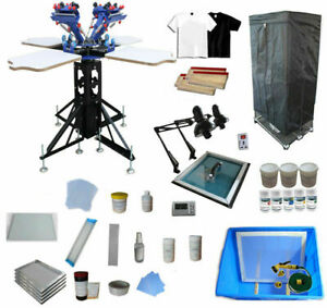 Full Set 4 Color 4 Station T-shirt Screen Printing Kit Drying Cabinet