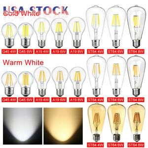 1/4/6 E26 110V Vintage LED Edison Bulb COB Filament Dimmable 4W 6W 8W Lamp Light