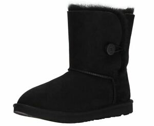 UGG KIDS GIRLS BAILEY BUTTON II BOOTS BLACK 1017400K BLK AUTHENTIC NEW $75.00