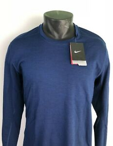 New Nike Men's Blue Dri-Fit Running Stay Warm Long Sleeve Shirt Crew New $95