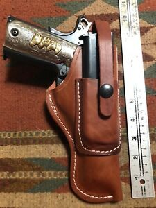 FITS Colt 45 Model 1911 Tanned Leather Field Holster w Magazine Pouch