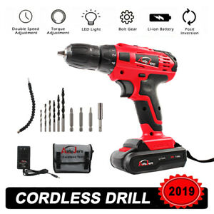 20V Max Brushed Powerful Cordless Drill Driver Tool Li-Ion battery 3/8inch Chuck