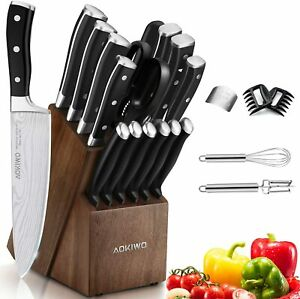 Knife Set 21 Piece Kitchen Knife Set with Block Wooden German Stainless Steel