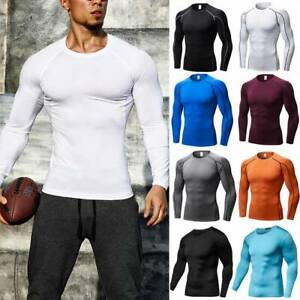 Mens Compression Shirt Thermal Base Layer Sports Top Long Sleeve Gym Cool Dry G $15.69