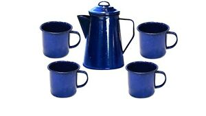 8 cup Enamel Percolator Coffee Pot with 4x Mugs Set for Camping - Outdoor -Home