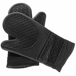 Oven Mitts E-run Silicone 1 Pair Potholders Heavy Duty Cooking Gloves, Kitchen