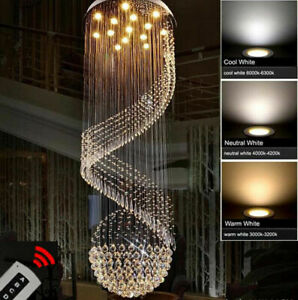 Modern Chandelier LED K9 Crystal Light Ceiling Villa Stairs Lighting Fixtures