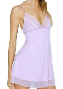$45 VICTORIAS SECRET LILAC PURPLE CHEMISE LACE SLIP BABYDOLL NIGHTGOWN LINGERIE