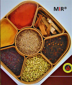 Masala Box Indian for Kitchen use 7 Sections 700ml Assorted Colour (Multicolour)