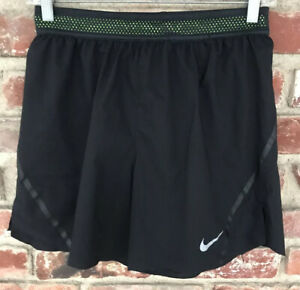 Nike Aeroswift Women's Running Shorts Size Small Black Neon Green