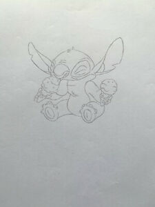 Walt Disney Original production Cel Pencil Drawing Lilo and stitch Ice cream $68.00