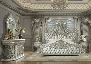 Baroque Belle Silver CAL King Bedroom Set 5 Pcs Homey Design HD-8088 Traditional