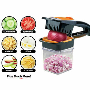 Food Vegetable Chopper Dicer Cutter Slicer w/ 3 Stainless Steel Blades Container