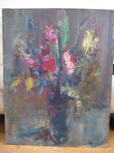 MARIUS WOULFART ANTIQUE VINTAGE FRENCH IMPRESSIONIST FLOWERS OIL PAINTING LISTED