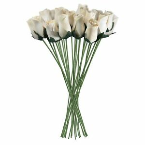 White Wooden Roses Artificial Realistic 32 Count