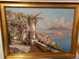 Outstanding vintage original oil painting with beautiful wood framesigned
