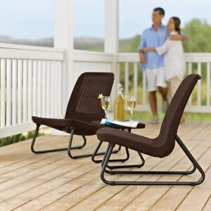 Outdoor Patio Set Bistro Furniture Chairs Table Dining Lounge Garden 3 Pc Rattan