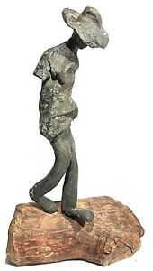 VINTAGE BRONZE ABSTRACT MODERNIST FIGURE WITH HAT STUDY SCULPTURE WOOD BASE $488.00