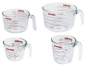 Pyrex FBA_1118989 Measuring Cup Set, 4 Pack, Clear