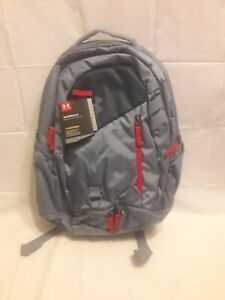 Under Armour Storm UA Hustle 4.0 Water-Repellant Grey & Red Backpack