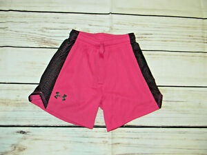 Under Armour HeatGear Girls YSM Youth Small Shorts Athletic Running Loose pink