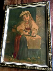 Antique Chromolithograph Art Print in Etched Gesso amp; Gilt Wooden Picture Frame $39.99