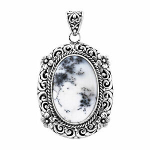 925 Sterling Silver Dendritic Agate Pendant Jewelry Gift for Women Cttw 27.8