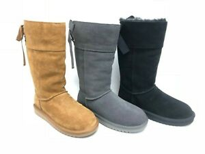 Koolaburra by UGG Women#x27;s Andrah Tall Suede Boots Chestnut Black Grey 1105791