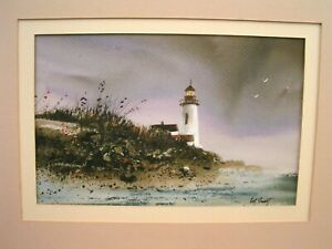 quot;Coast Litequot; Original Watercolor Lighthouse Painting by Ohio Artist Art Swart $125.00