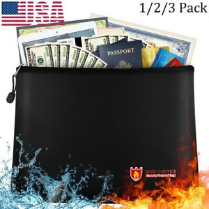 Fireproof Money Bag Water Resistant Safety Envelope Document File Case 3 Size US