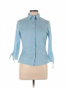Hot Papaya Clothing Women Blue 34 Sleeve Button Down Shirt L