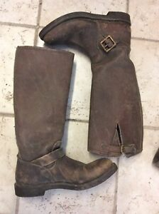 Russ's Thick Leather Snake Proof Working Hunting Boots Farming Old Boots Size 9
