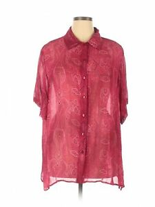 Clothing Co. By Notations Women Red Short Sleeve Blouse 3X Plus