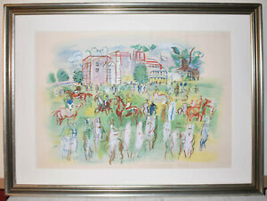 Listed French Artist Raul Dufy Signed Original Lithograph Stencil 'Ascot