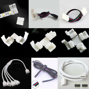 4pin RGB 3528 5050 LED Strip Light Connector Adapter Cable PCB Clip Solderless