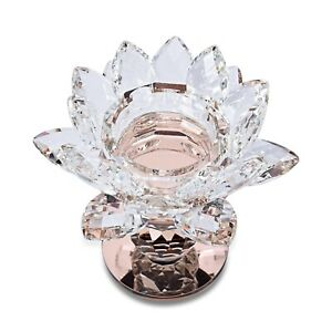 Champagne 2 Ball Base Lotus Crystal Home Decor Candle Holder Wedding Bar Party