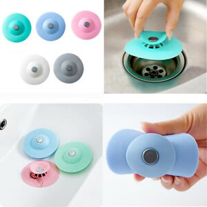 US 4 Pack Silicone Drain Cover Pop-up Sink Drainer Strainer Water Stopper Plug