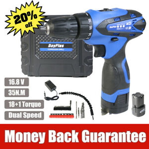 16.8V Cordless Drill Double Impact LED Worklight Small&Li-ion Battery Power Tool