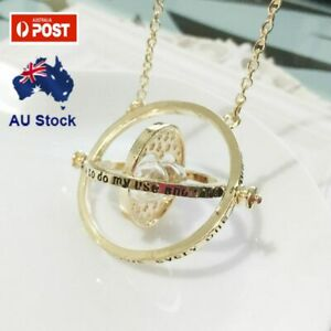 HARRY POTTER Hermione Granger Gold Tone Hourglass Necklace Pendant Time Turner AU $6.98