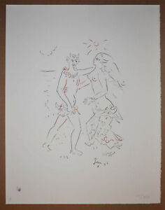 French Artist Poet Jean Cocteau Original Color Lithograph Signed Stamped